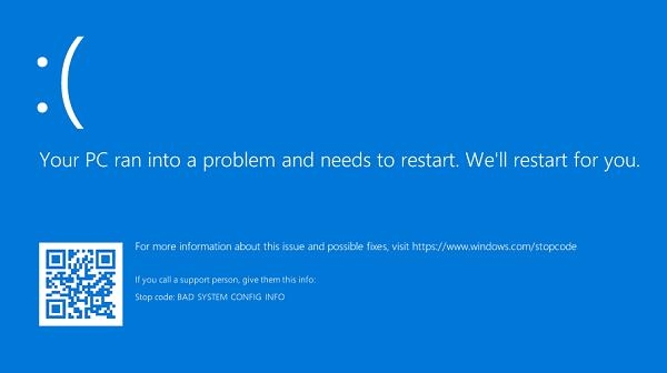 Sửa Lỗi Your Pc Ran Into A Problem And Needs To Restart, Windows 10